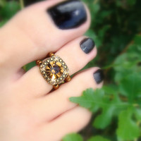 Toe Ring, Citrine Gem, Copper, Yellow Diamond Metal Bead Toe Ring