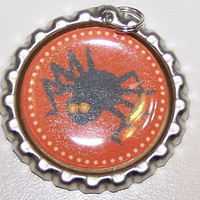 Halloween, Bottle Cap, Necklace, Black, Spider, Red, Background