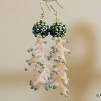 Crystal and Seed Bead Branch Fringe Earrings
