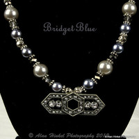 Fabulous Art deco 1920s style glass pearl crystal and metal necklace