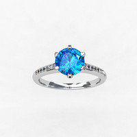 Blue topaz ring, Diamond, white gold, engagement ring, solitaire, Topaz engagement, blue, micro pave, diamond engagement, vintage style