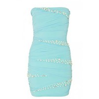 Mint Green Mesh Pearl And Diamante Bodycon Dress at debenhams.com