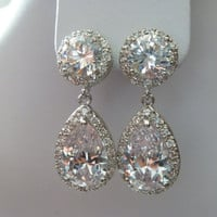 Bridal Weddings Earrings clear white cubic Zirconia Round CZ Post earrings
