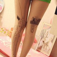 new Machine gun Tattoo socks Transparent pantyhose Stockings Tights Leggings