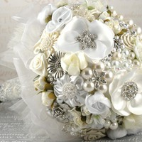 Bridal Brooch Bouquet large with Repurposed Brooches by SolBijou