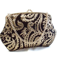 Vintage Black & Gold Evening Bag/Purse/Clutch circa 1960's.