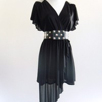 70s Black DISCO DiVa Flutter Draped LBD Mini Dress S M L . D033