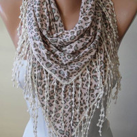 Autumn Scarf - Light Pink - Grey and Leopard Scarf with Beige Trim Edge - Triangular - Leopard Combed Cotton Fabric