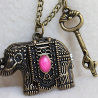 Steampunk Antique Elephant Locket Watch Necklace with Key Charm