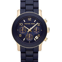 Michael Kors Watch, Women's Runway Navy Blue Polyurethane-Wrapped Goldtone Stainless Steel Bracelet 38mm MK5316 - Women's Watches - Jewelry & Watches - Macy's