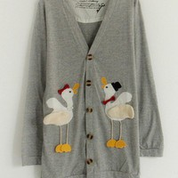 V-Neck  Gray cotton blend long sleeve casual cardigan   style zz92700802 in  Indressme