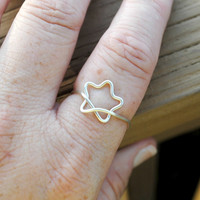 Adjustable Wire Wrapped Ring Silver Star