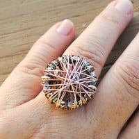 Wire Wrapped Ring Multiple Wire Layers Copper Pink Gun Metal Brown