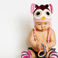 Baby Infant Toddler Girl Crochet OWL Earflap Hat -- Sizes: Newborn, 0-3 mos, 3-9 mos, 9-24 mos, 2-6 yrs -- Cute Photo Prop
