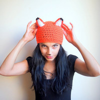 PDF crochet pattern - fox hat, beanie animal costume - DIY tutorial - Quick and easy gift