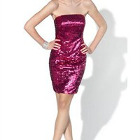 Appealing A-line Strapless Knee Length Sequin Cocktail Dress-$127.98-ReliableTrustStore.com