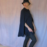 Vintage 60s Sweater Poncho Cape Navy Basket Weave by ChatteJolie