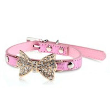 2x Pet Dog Puppy PU Leather Collar Crystal Rhinestone Bowknot Bow Bling Pink XS/S/M - Default