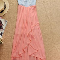 Denim Strapless High Low Chiffon Dress