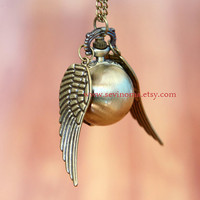 golden snitch necklace -  Harry Potter - Pocket watch Locket Necklace, antiqued brass wings