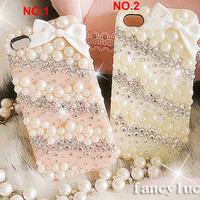 iPhone 4 case - crystal iphone 4s case - iPhone 4 cover iPhone 4 skin - Pearl iphone 4 case - Bling iphone 4 case Cute  bow