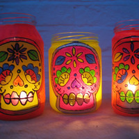 fabulously upcycled  three neon loud and funky sugar skull day of the dead, glass jar lanterns tea light holders