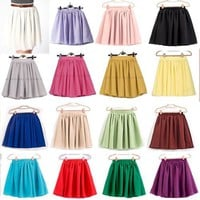 Women Ladies Girl High Waist Pleated Double Layered Sheer Short Chiffon Skirts