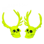 Skull Head with Antlers Earrings by Hallomall