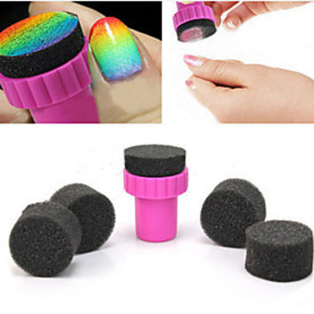 [NewYearSale]1PCS Manicure Sponge Nail Art Stamper Tools with 5PCS Sponge Nail for Gradient Color Nail Art - Default