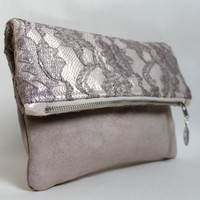 Lace clutch, fold over clutch, lace and faux suede