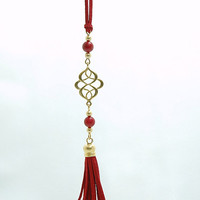 Gold Plated Oriental Infinity Charm Necklace with Red Coral Stones and Suede Leather Tassel