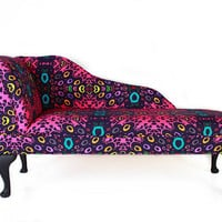 Multi Coloured Printed Chaise Longue