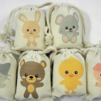 Custom Muslin Bags Cute baby animals Favor Baby Shower Birthday Bags Qty 6