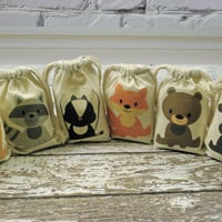 Muslin Custom Bags Woodland Animals Favor Baby Shower Birthday Bags Qty 6