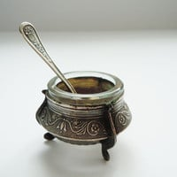 Vintage Russian Salt Cellar with Spoon