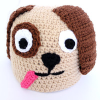 Puppy crochet beanie Adult handmade doggie animal hat