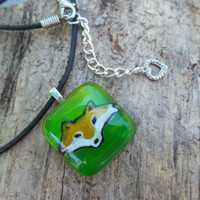 End of summer sale - 50% off - Fox Glass Pendant