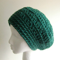 Crochet Beanie Slouchy Hat in Hunter Green Chunky Yarn