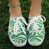 Green Swirl Pattern Original Custom Acrylic Painting for Canvas Shoes