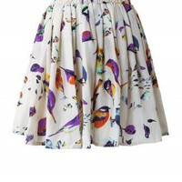 Birds Print Skater Skirt - New Arrivals - Retro, Indie and Unique Fashion