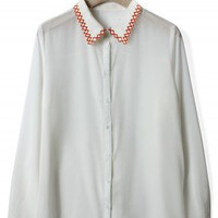 Zig Zag Stitchwork Collar Shirt in White - New Arrivals - Retro, Indie and Unique Fashion