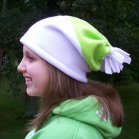 Slouchy Beanie Fleece Hat Pom Pom Tassel White Lime Green Baggy  Womens Teen Girls Winter Hat
