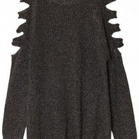 Black Metallic Cut Out Shoulder Jumper - New Arrivals - Retro, Indie and Unique Fashion