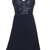 Navy Skater Dress with Sequin Embellished Sleeveless Top