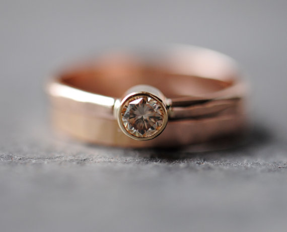 Diamond Wedding Ring Set 14k Rose Gold from DalkullanJewelry on