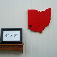 "Cincinnati Bearcats ""State Heart"" wall art, handcrafted wood with official team colors"