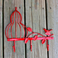 Metal Wall Hook /Red Bird Cage /Shabby Chic Decor /Tree Branch /Whimsical Bathroom Hanger /Key Holder /Bedroom /Mud Room Rack /Nursery