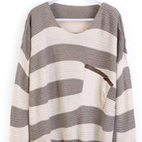 Gray Stripes Loose Sweater with Pocket #ECS000120Gray Stripe