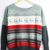 Little Elk Spell Color Bat Sleeve Sweater Pea Green  S000418