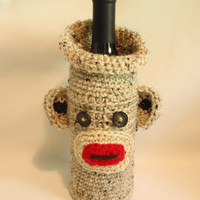 MONKEY   crocheted  WINE SACK / Cozy     by KnottyMonkey on Etsy